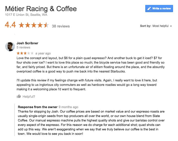 Responding to negative restaurant reviews
