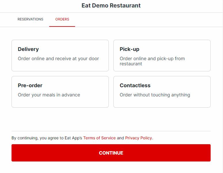Eat App widget off premise dining options