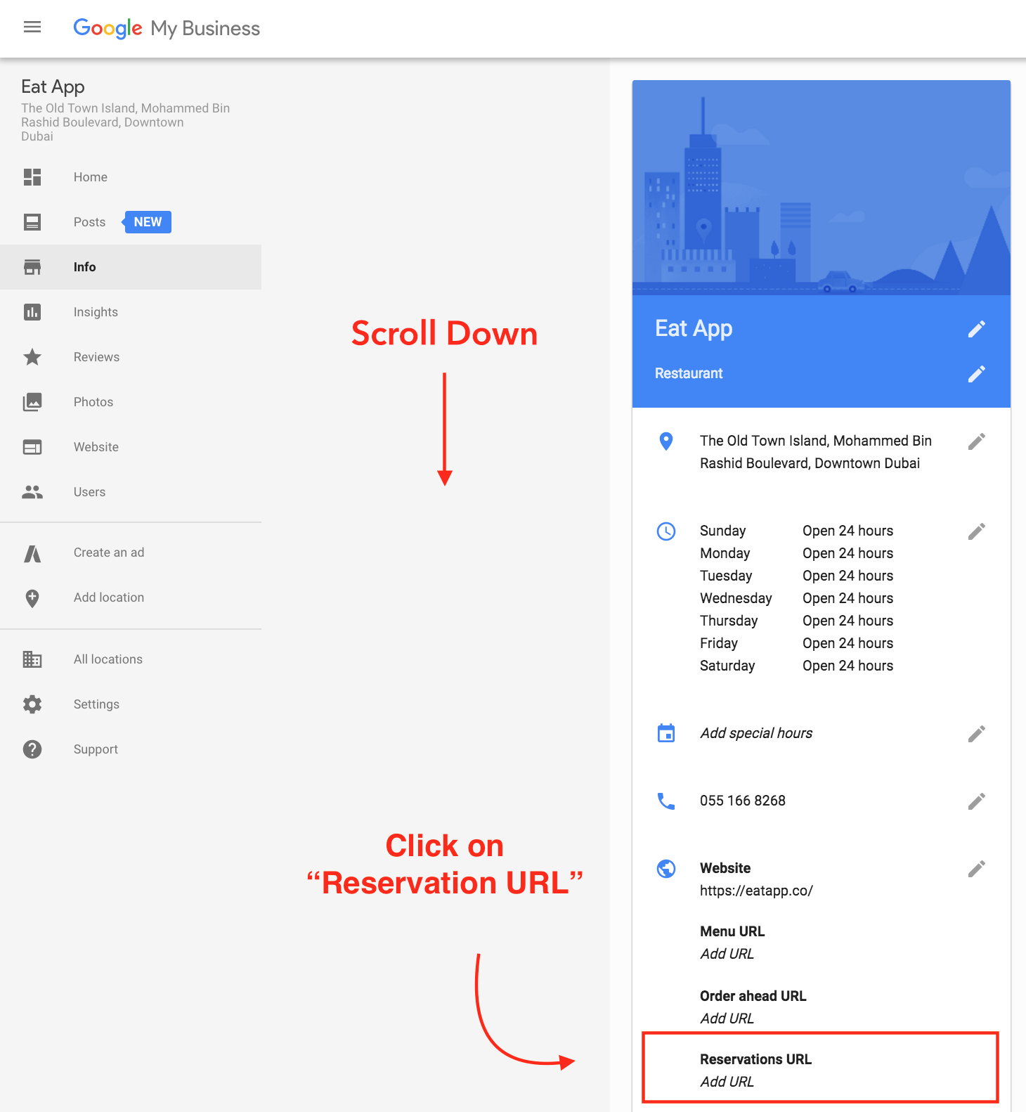 How to add Google reservation link