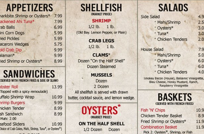 Menu Pricing Sheet