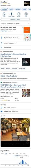Miss Tess Dubai GMB listing