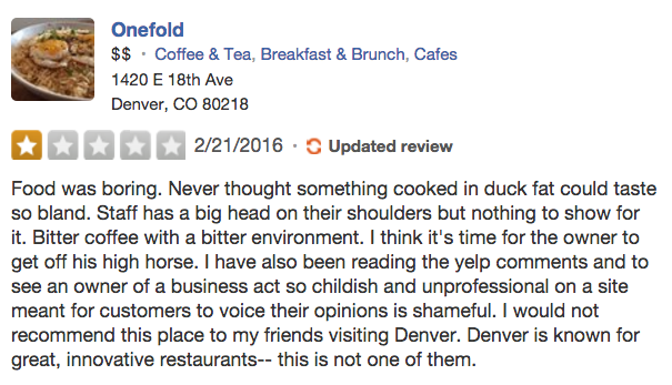 Negative restaurant reviews