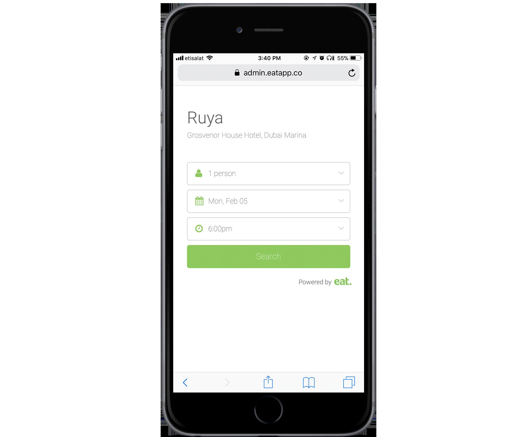 Eat App Booking Widget