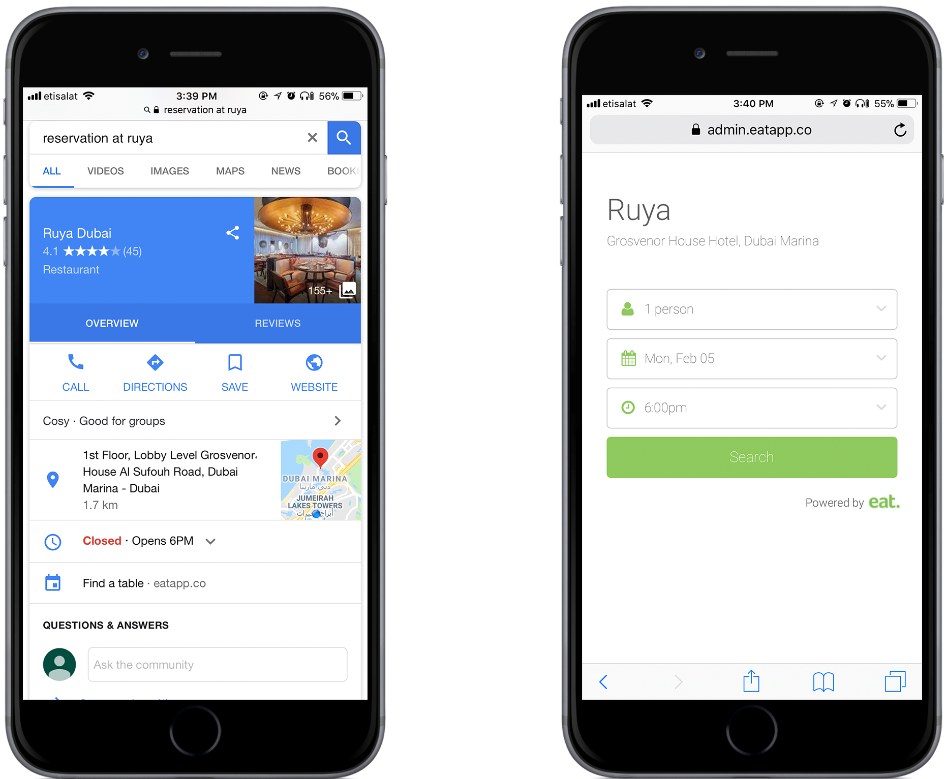 Google booking widget