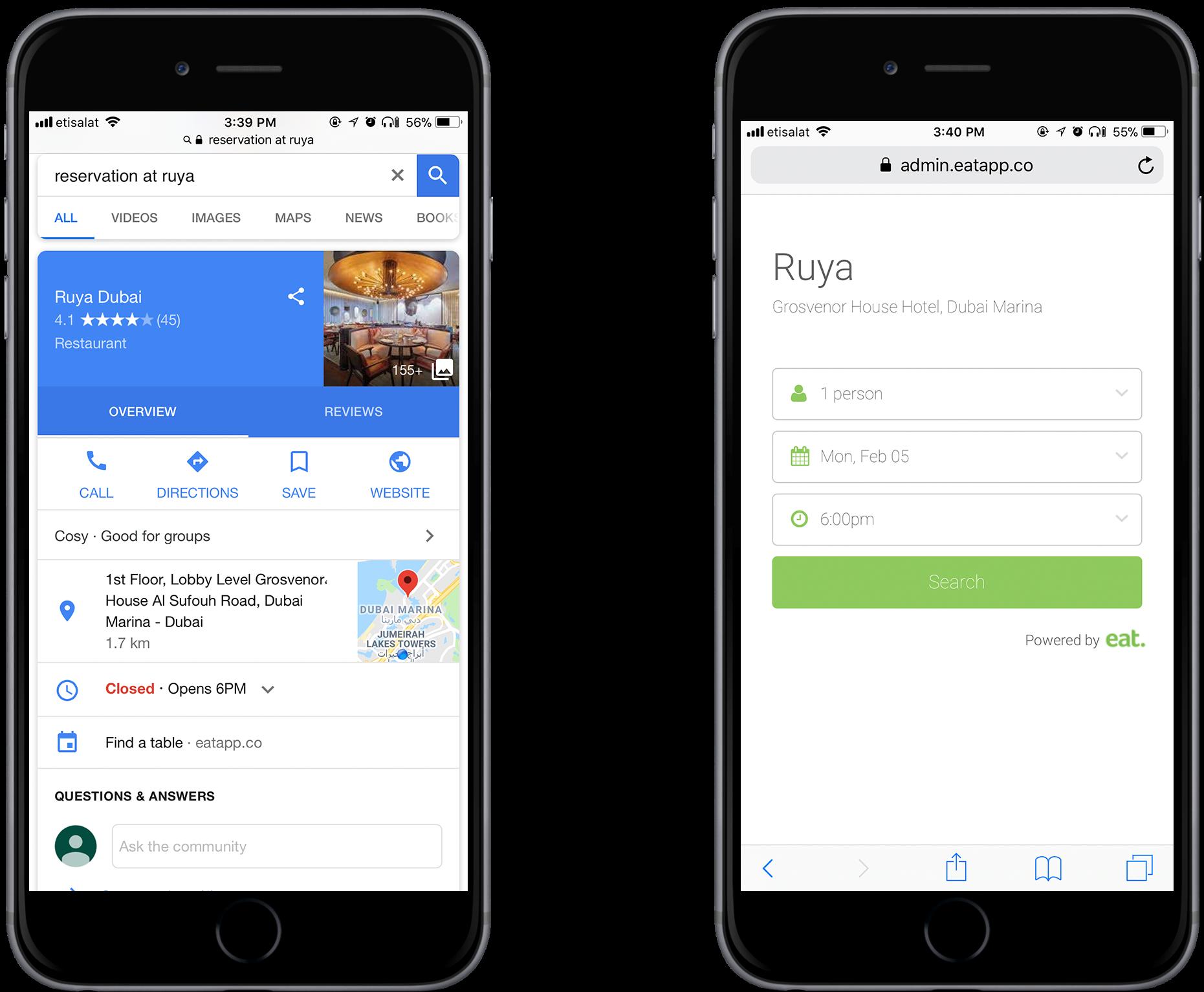 Google booking widget