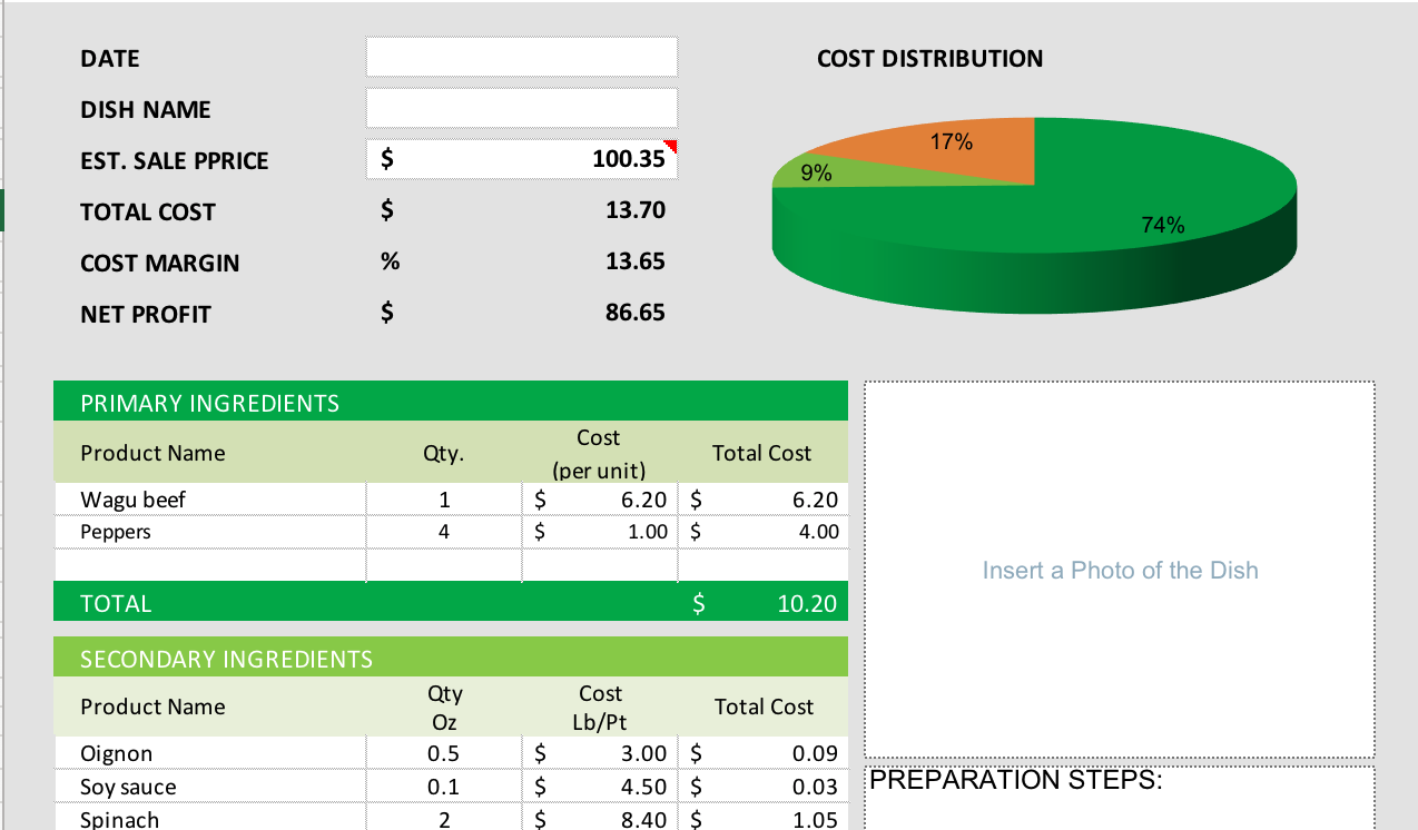Free Excel Food Cost Calculator