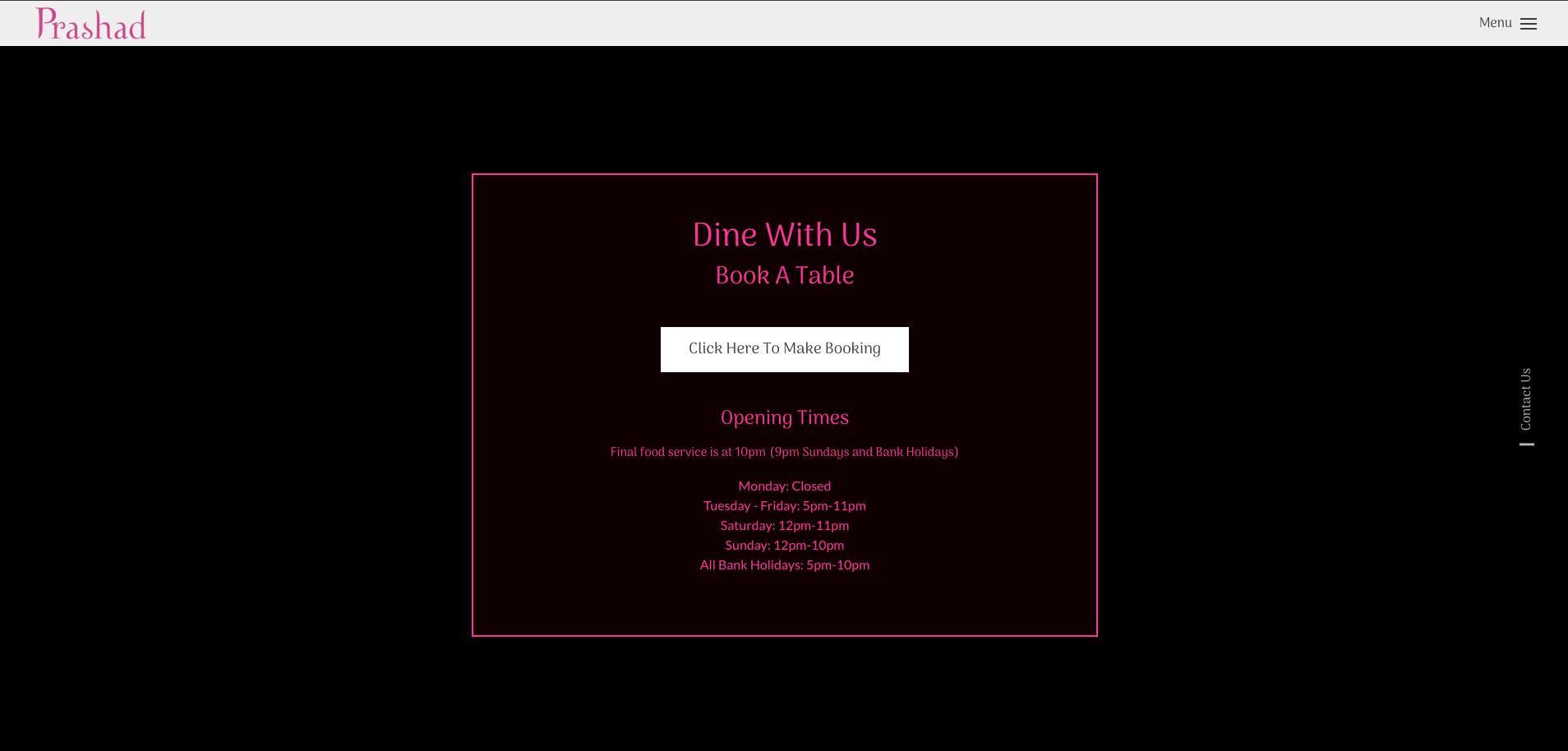 Book a table at Prashad website design