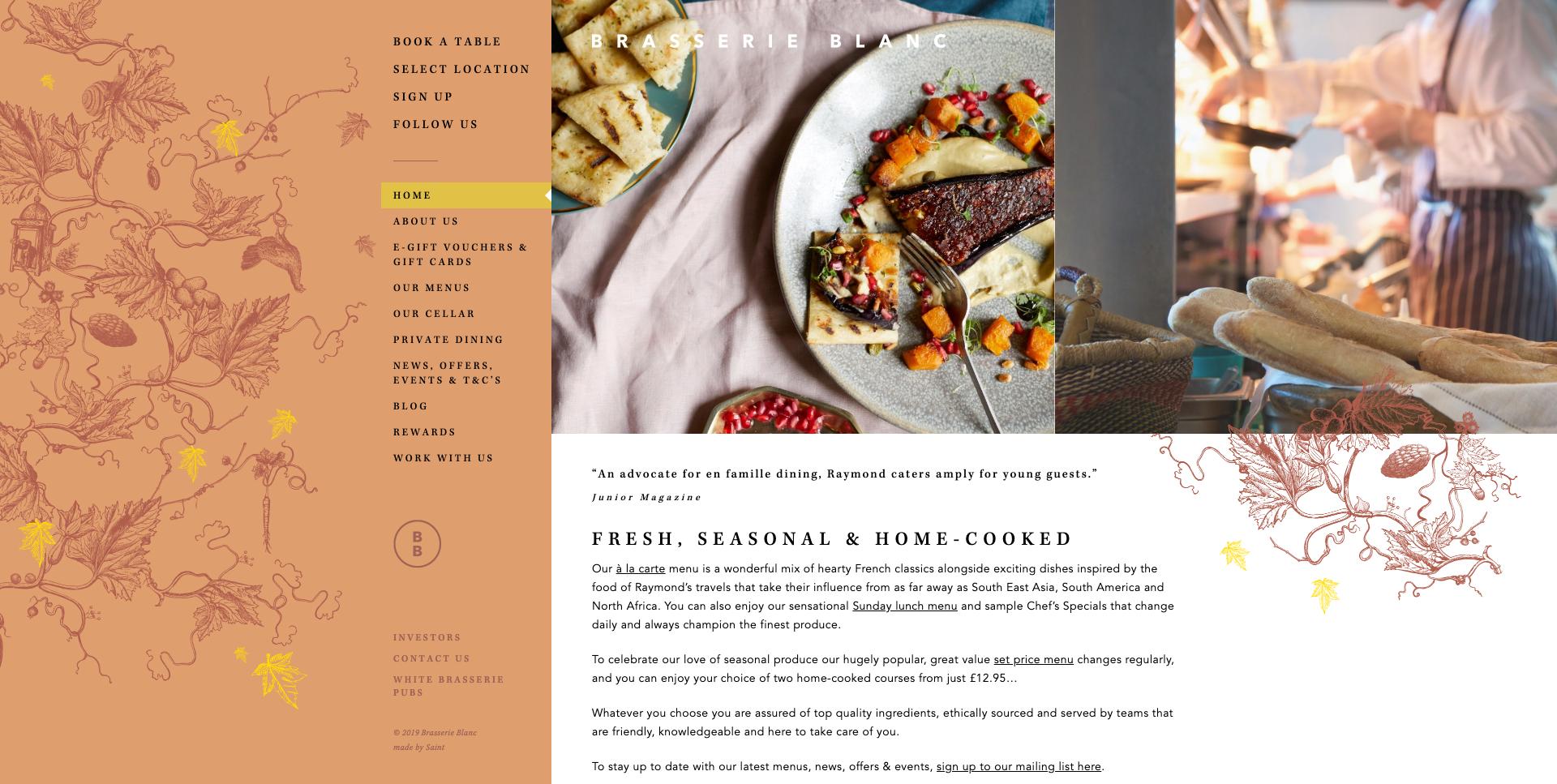 Brasserie Blanc Restaurant Website Design