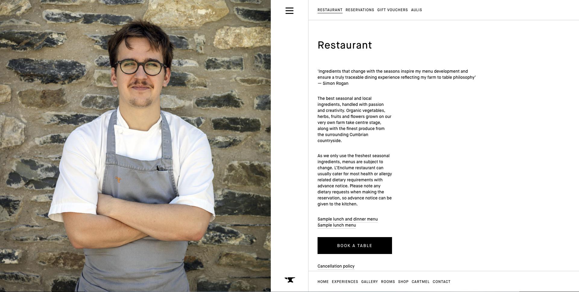 L'Enclume Restaurant Reservation Website Design