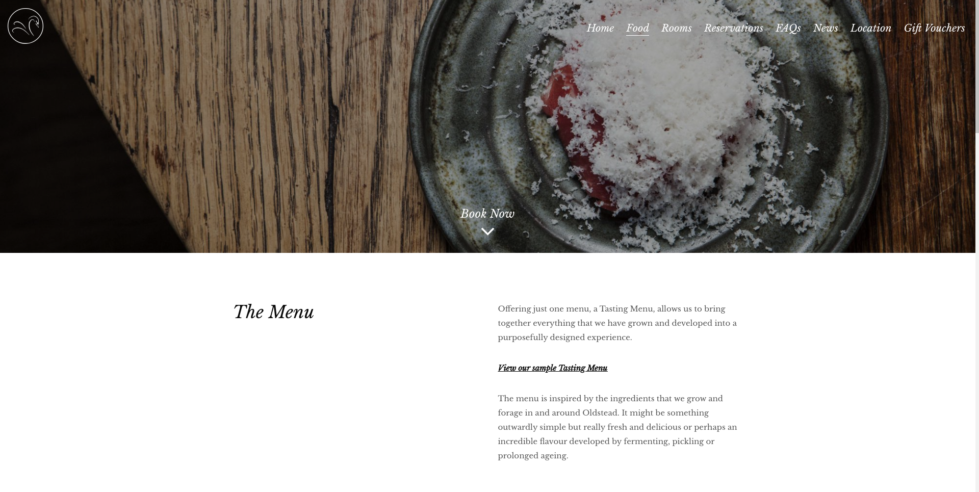 The Black Swan Restaurant Website Design