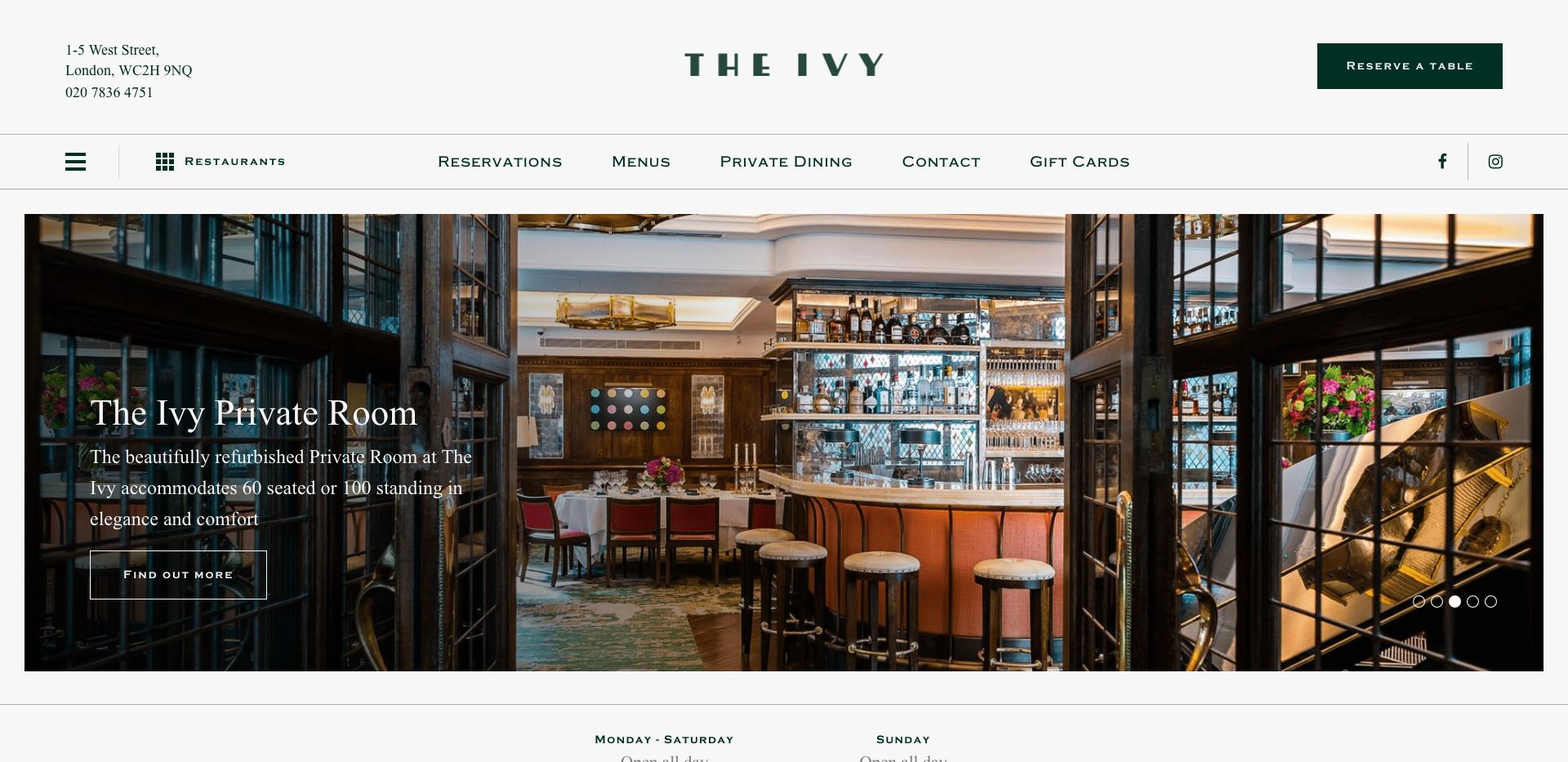 The Ivy England Restaurant Homepage Website Design