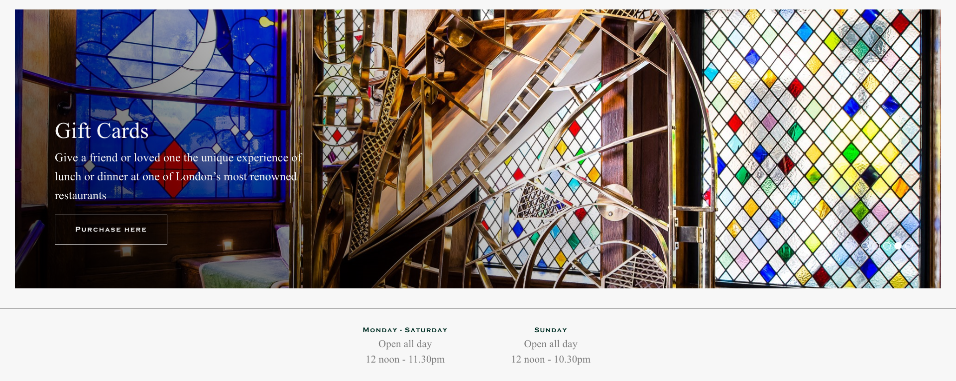 The Ivy England Restaurant Gift Card on Website
