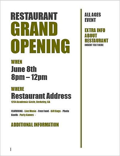 Restaurant Grand Opening Ideas template free download