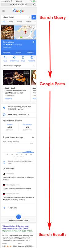 google posts restaurants