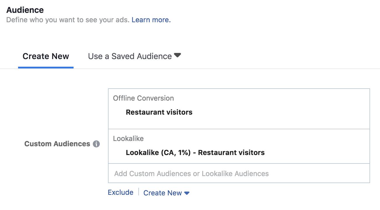 Facebook custom audience settings