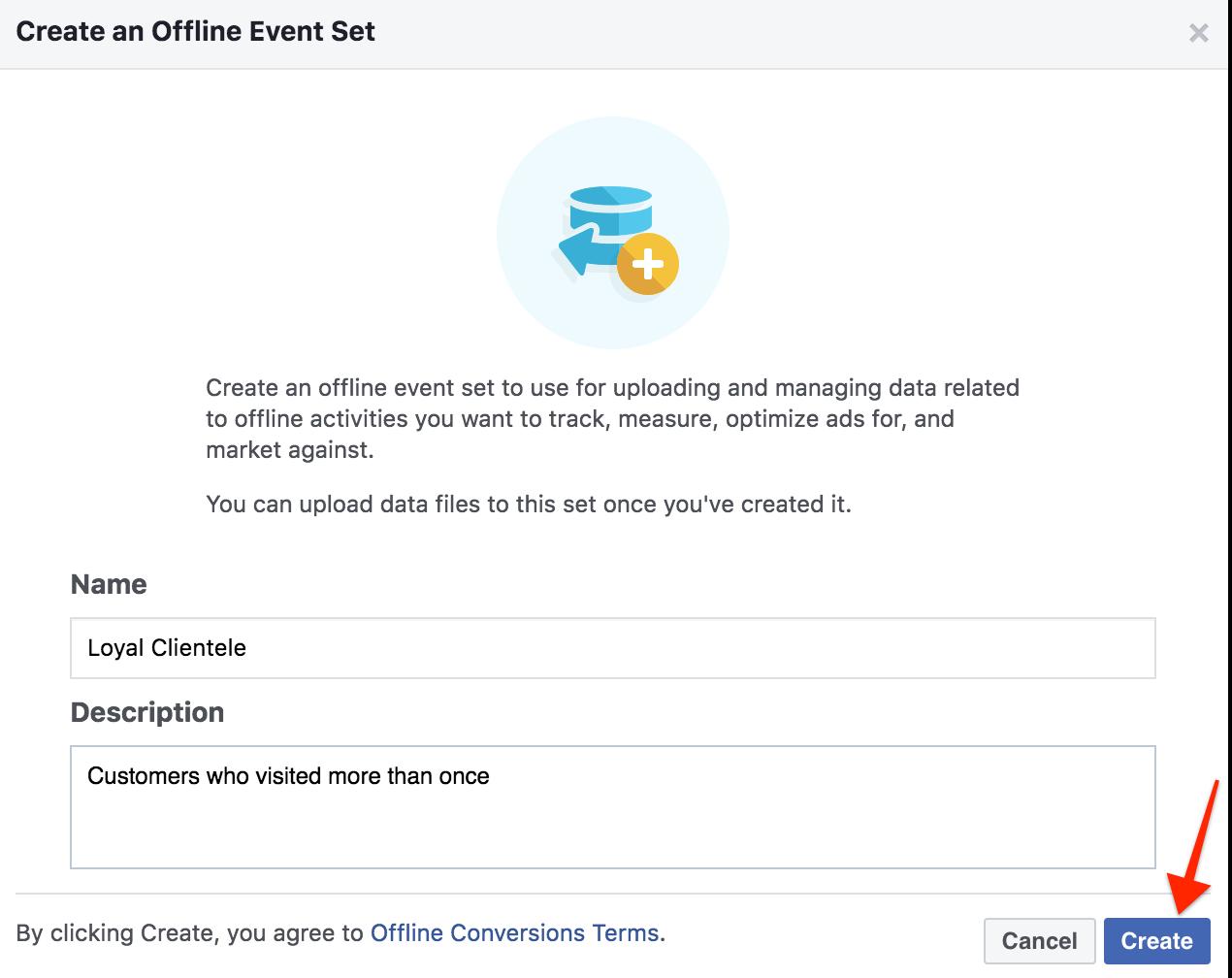 Creating offline event set facebook