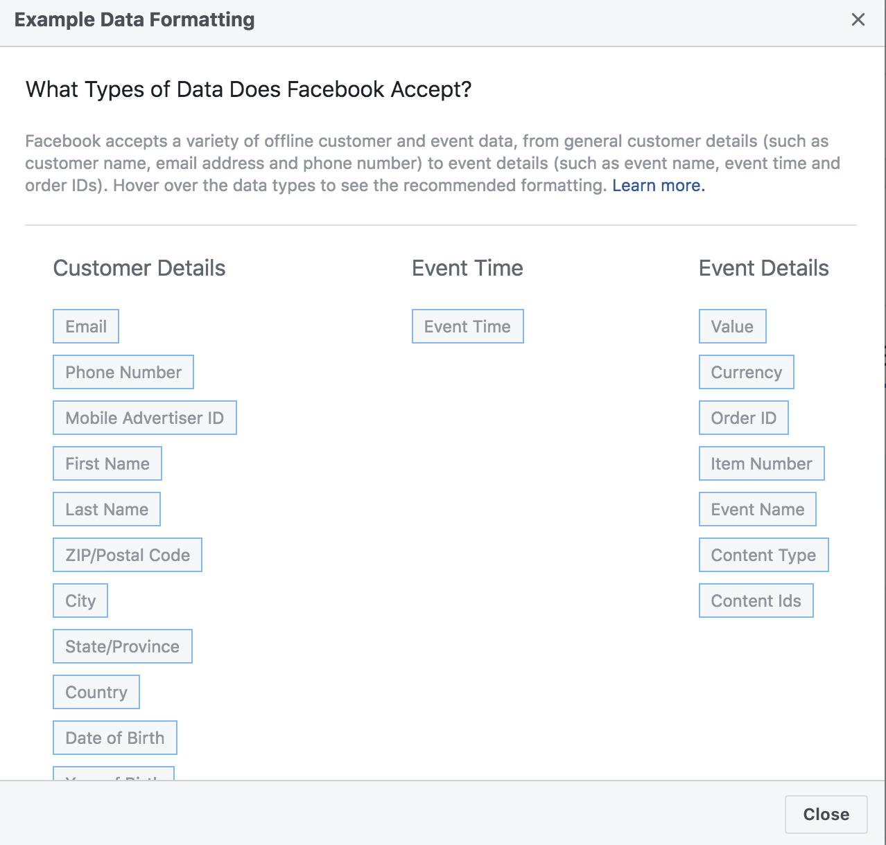 Choosing data for facebook events