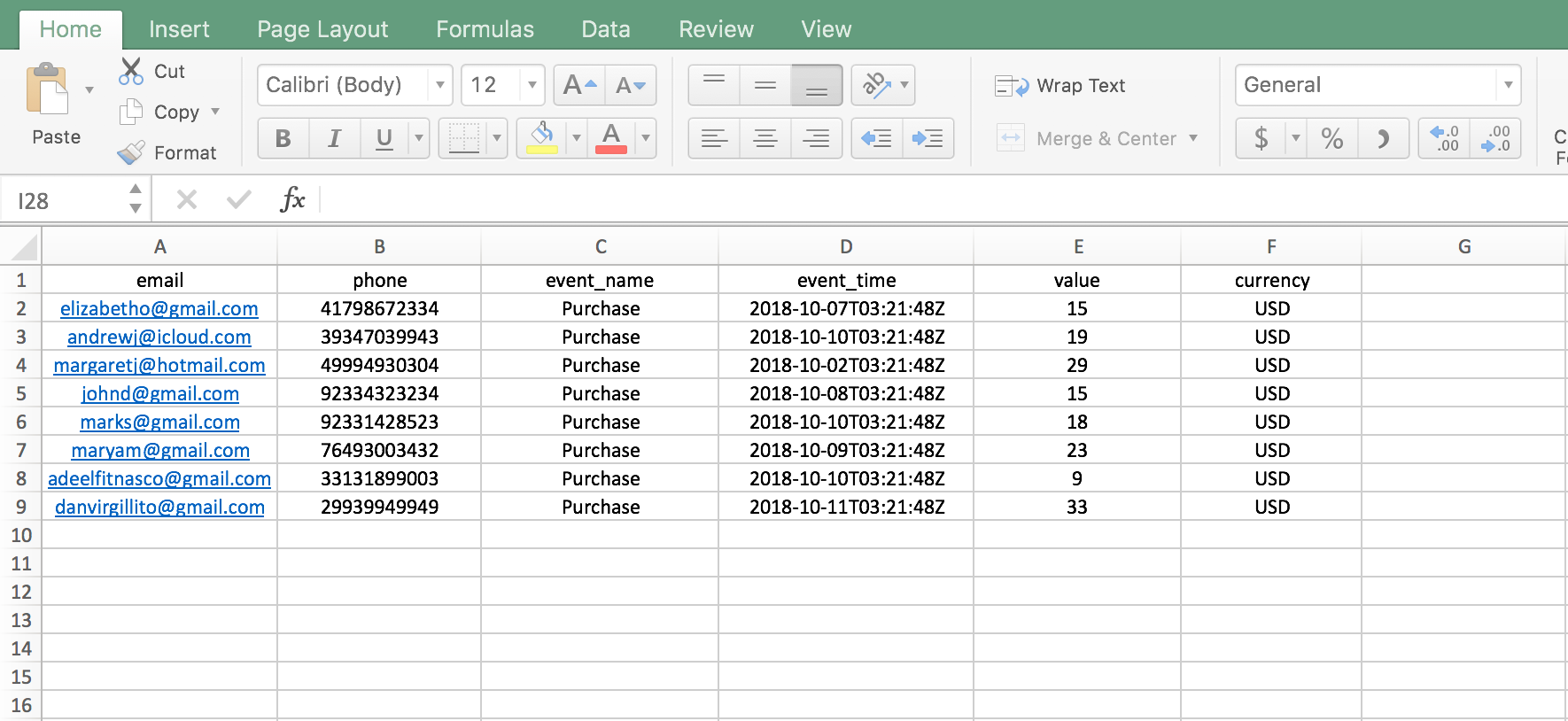 Example CSV data for facebook events