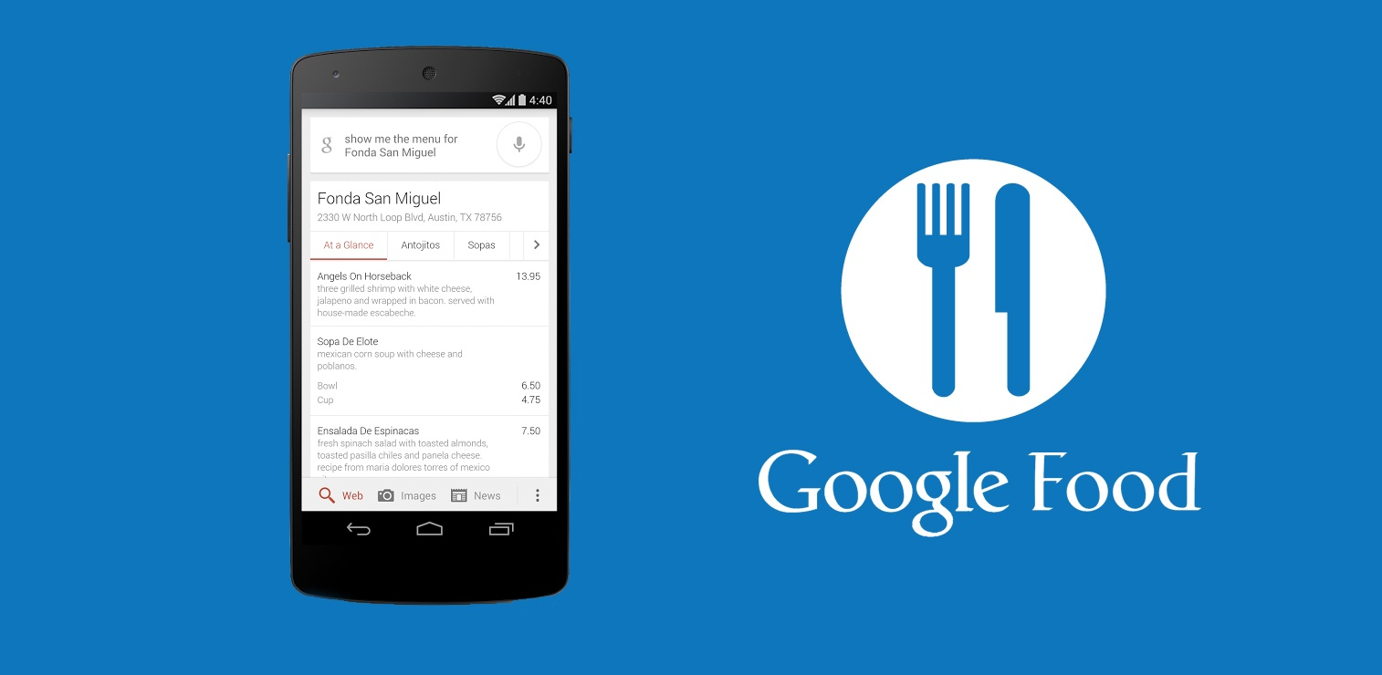 Using Google search to find restaurants