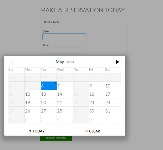 Old Fashioned Restaurant booking widget